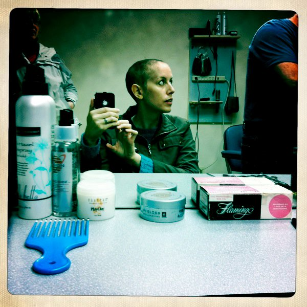 Pre-chemo hair shearing.